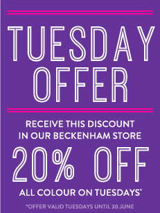 Tuesday offer, Receive this discount in our Beckenham store, 30% off all colour valid tuesdays